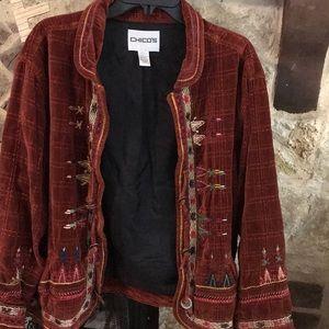 Gorgeous size 3 Chico's velvet embroidered jacket